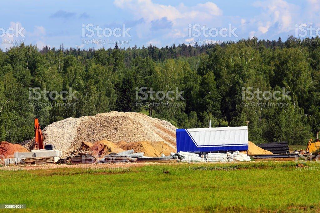 Construction site on wasteland stock photo