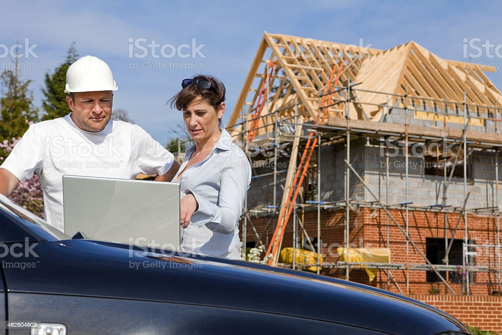 Construction Site Planning Meeting royalty-free stock photo