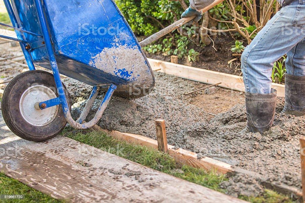 Construction Site Pouring Concrete stock photo