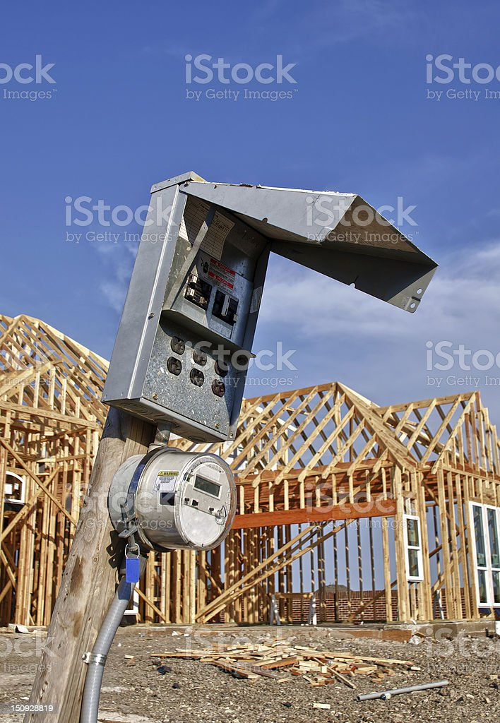 Construction site power source stock photo