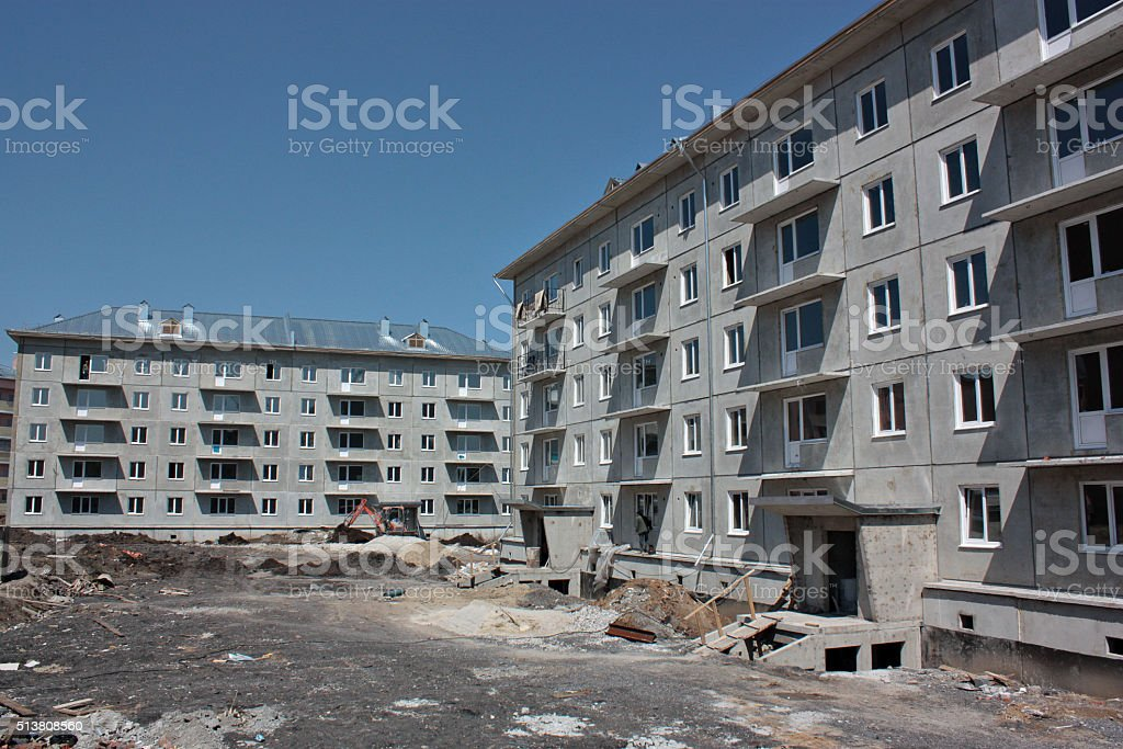 Construction site prefabricated house stock photo