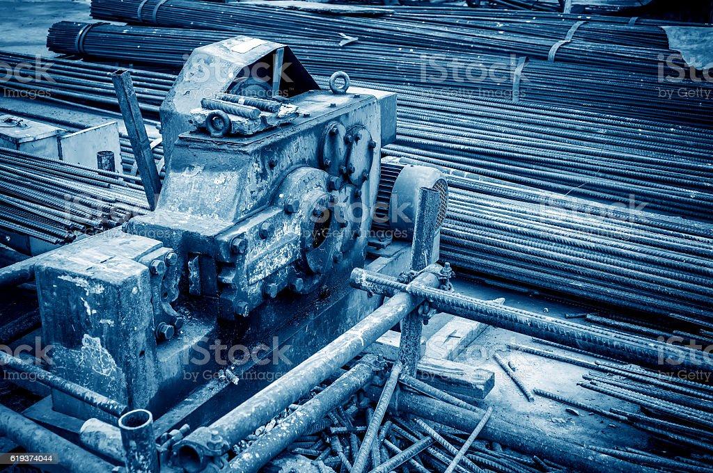 Construction site rebar cutter stock photo