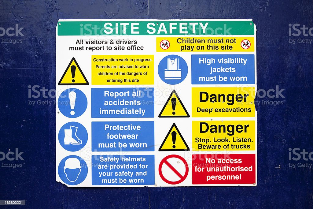 Construction site safety notice stock photo