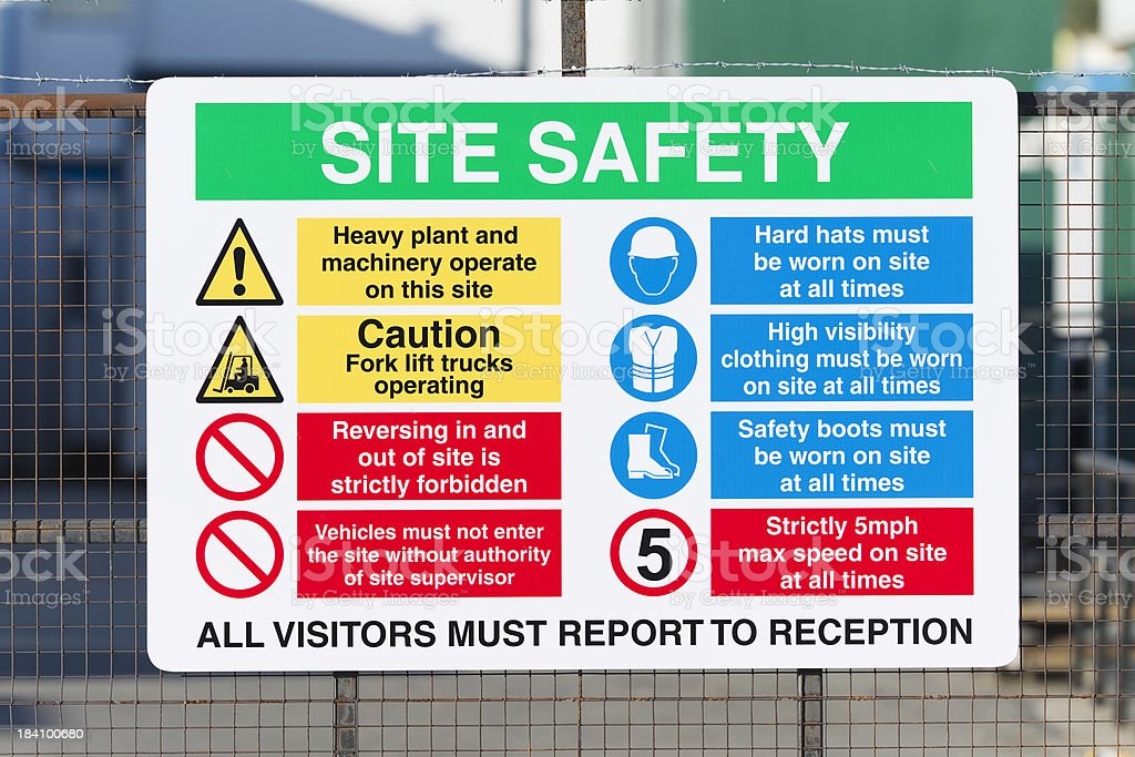 Construction site safety sign stock photo