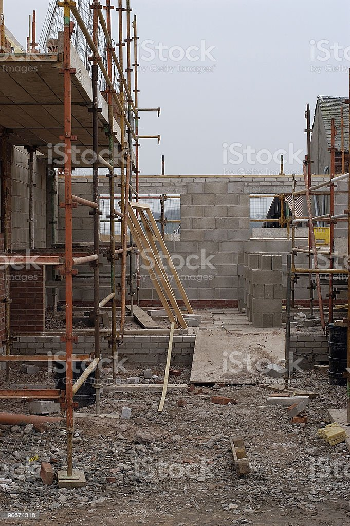 construction site scaffolding at a house royalty-free stock photo