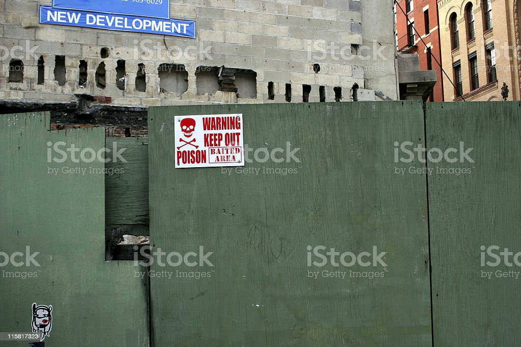 construction site signs and boarding stock photo