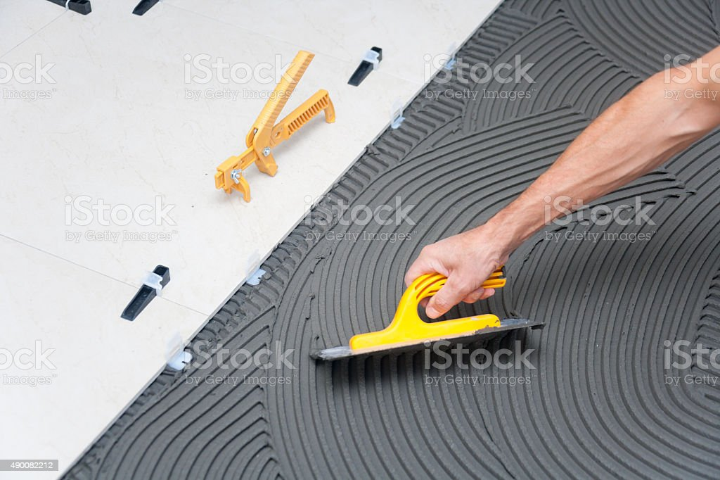 Construction site - Tile Floor stock photo