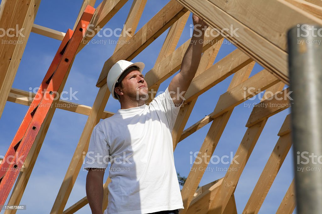 Construction Site Timber Frame Roof Inspection royalty-free stock photo