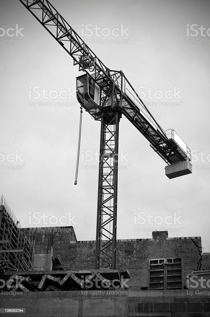 Construction site. Tower crane. stock photo
