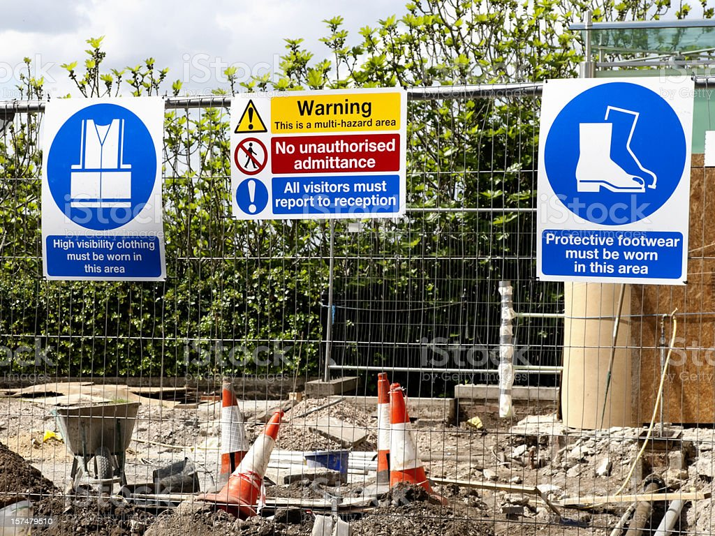 Construction site warning signs stock photo