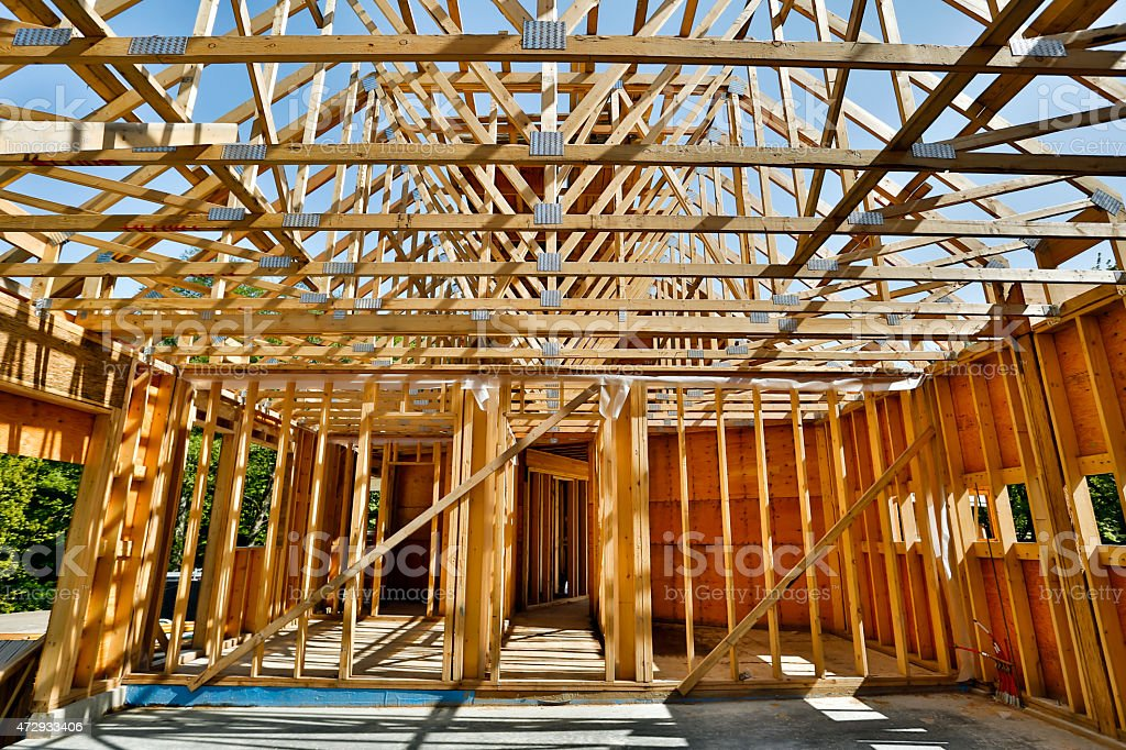 A construction site where a house is being built  stock photo