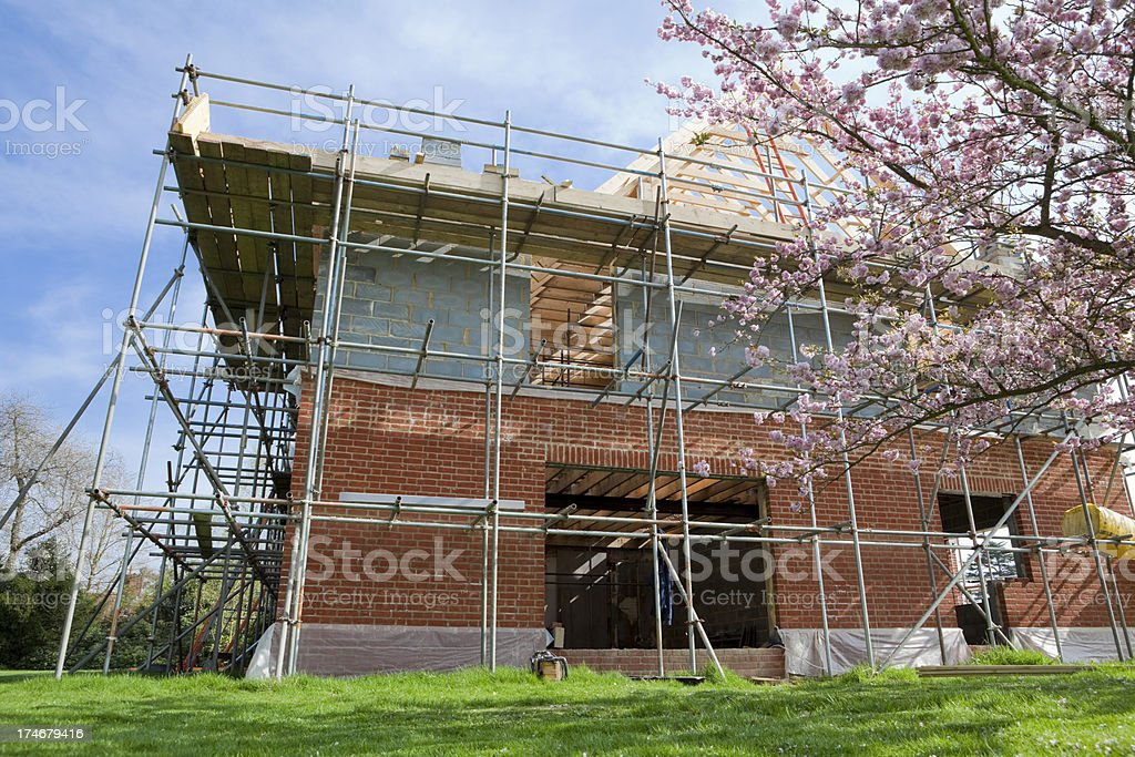 Construction Site with Blossom royalty-free stock photo