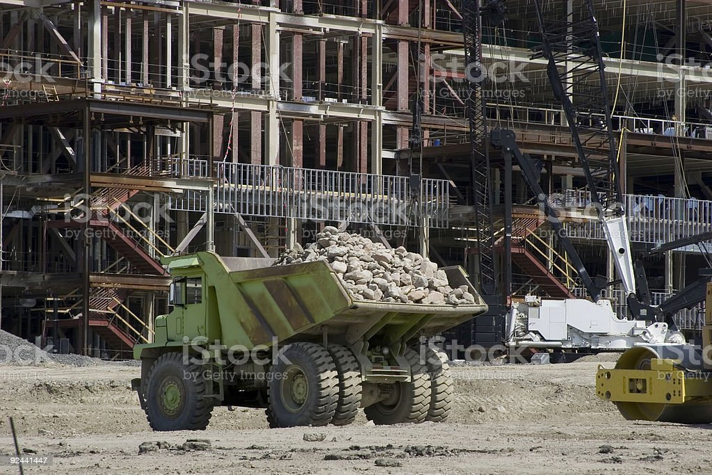 Construction Site, With Cool Dump Truck. royalty-free stock photo