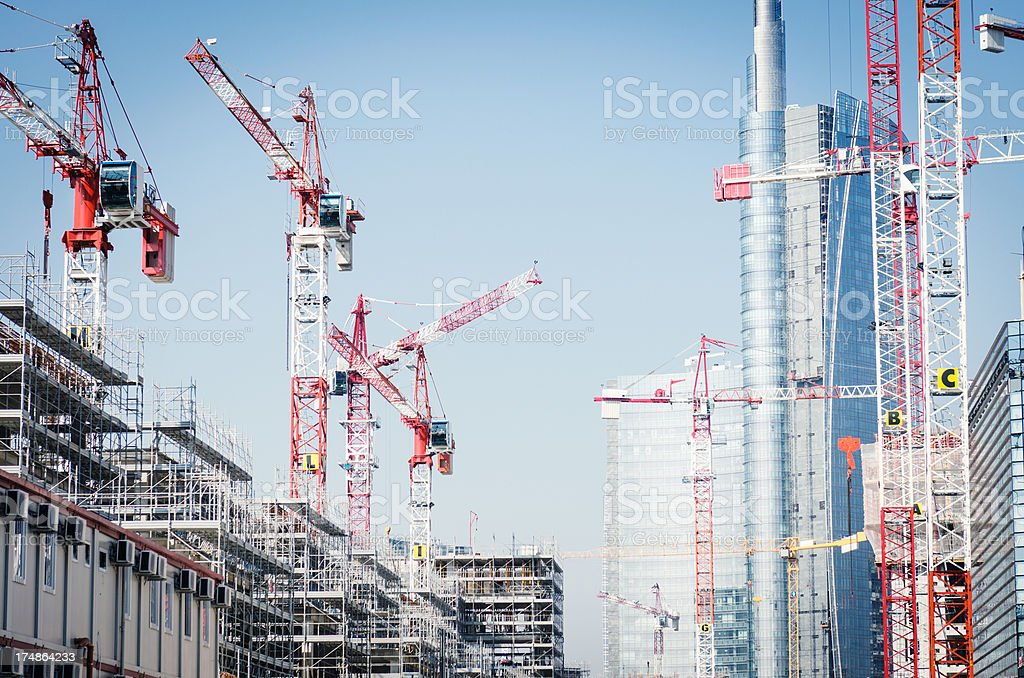 Construction site with high crane stock photo