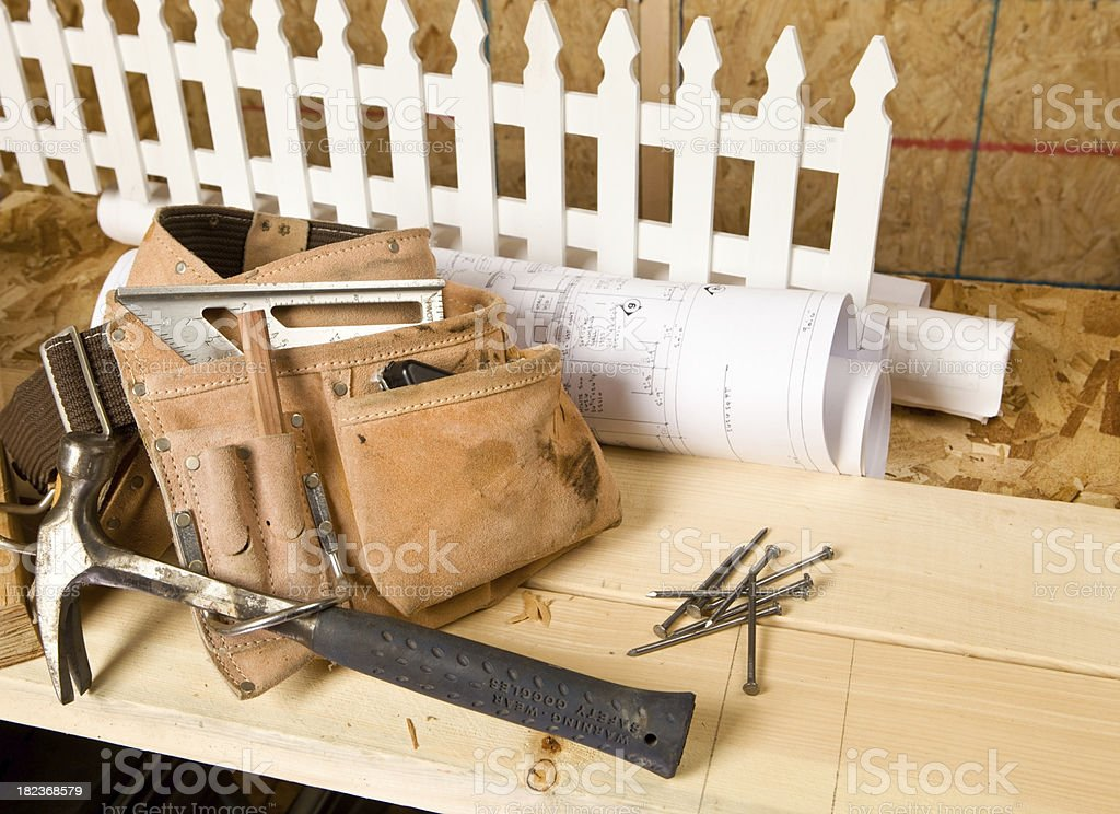 Construction Site with White Picket Fence stock photo