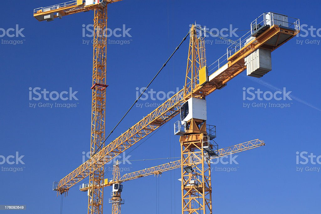 Construction Site with Yellow Cranes royalty-free stock photo