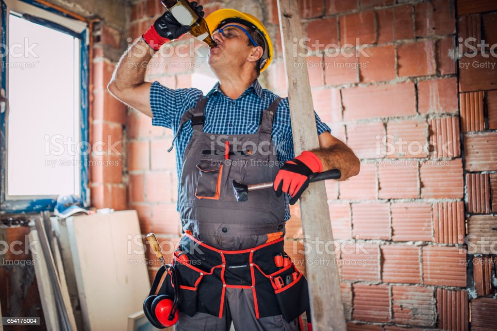 Construction site worker stock photo
