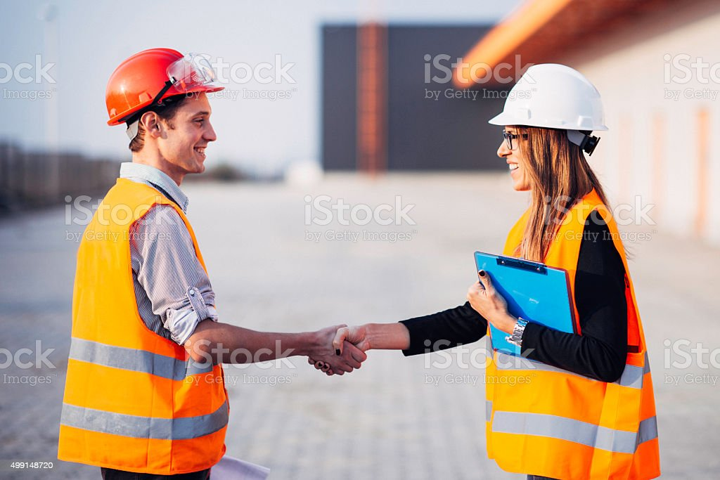 Construction sitehandshake stock photo