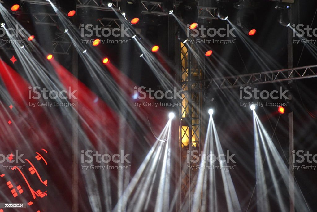 construction stage and lighting means light show stock photo