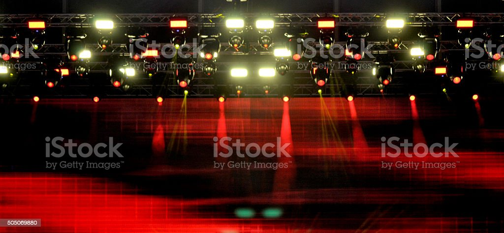 construction stage and red light means the light show stock photo