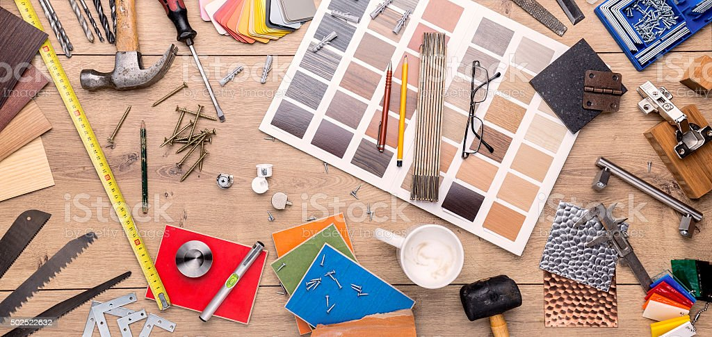 construction still life with many tools and materials stock photo