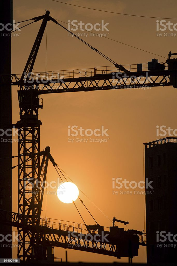 Construction sunset stock photo