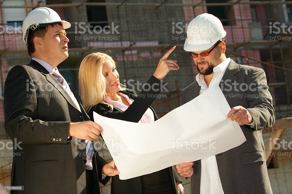 Construction team at site royalty-free stock photo