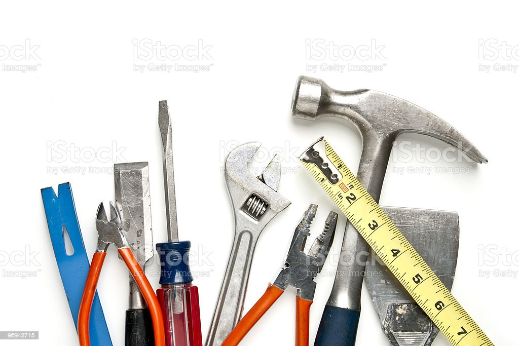 Construction Tools in Pile stock photo