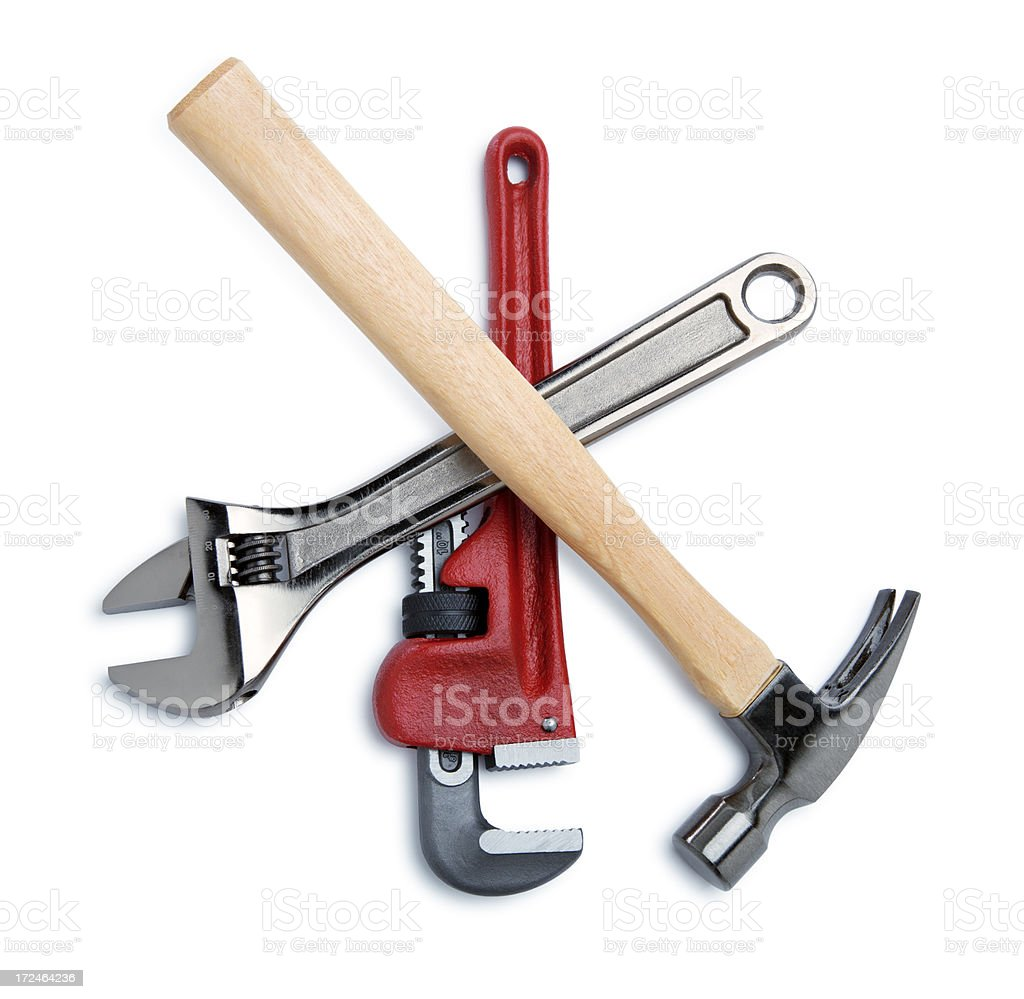 Construction Tools Isolated on White royalty-free stock photo