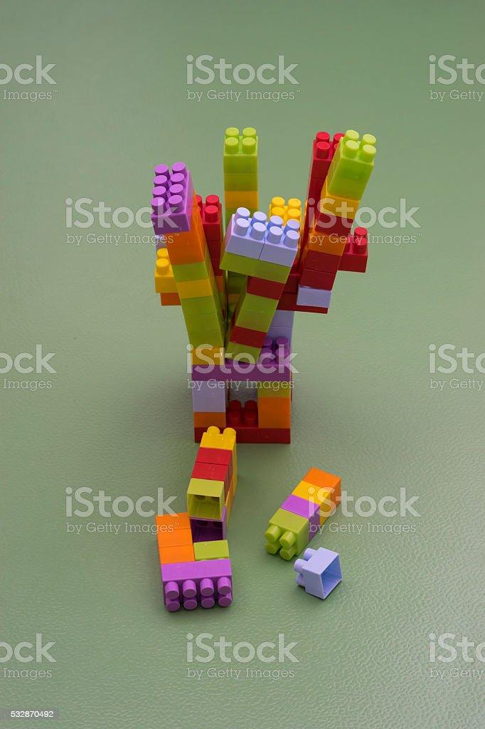 Construction toy blocks stock photo