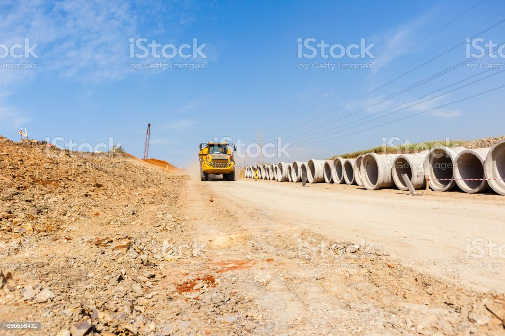 Construction Truck Road Earthworks stock photo