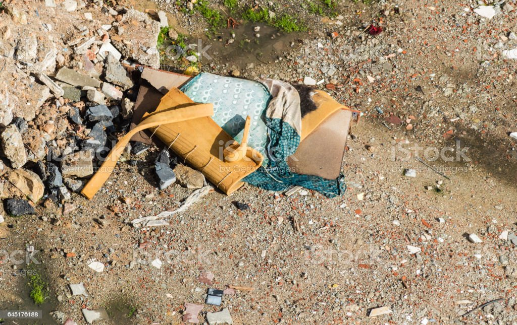 Construction waste debris, garbage bricks and material from demolished house stock photo