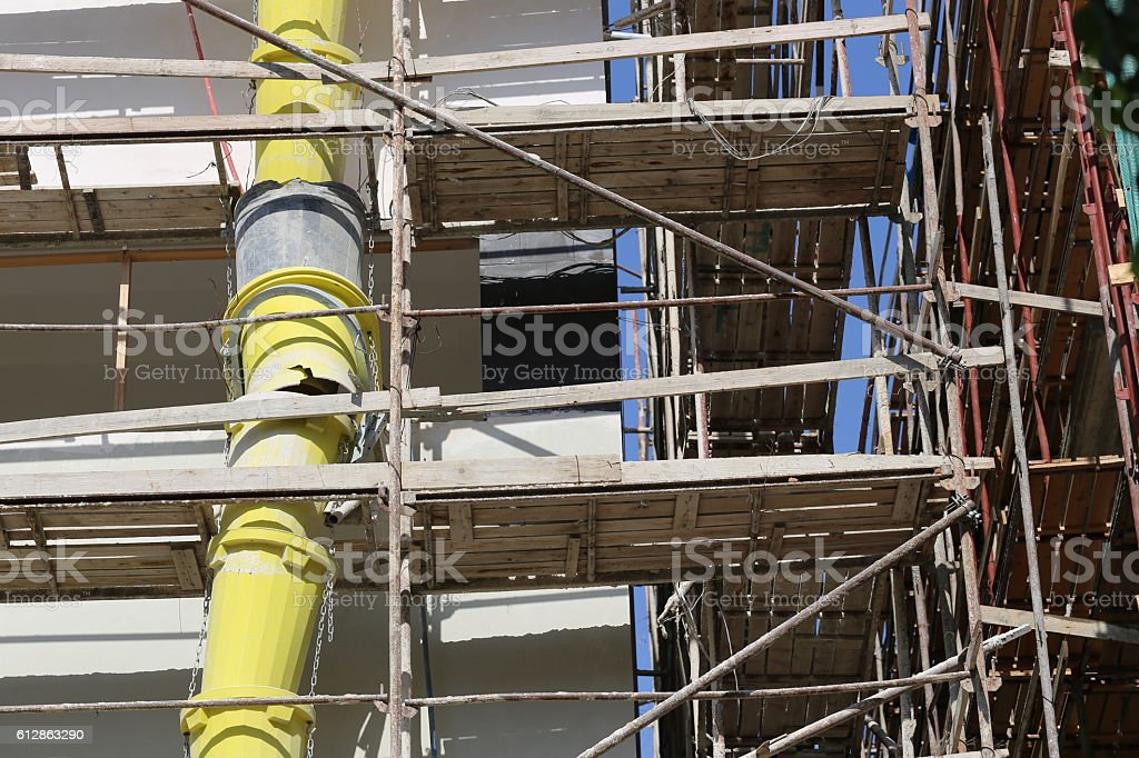 Construction Waste Pipe on a Construction Building stock photo