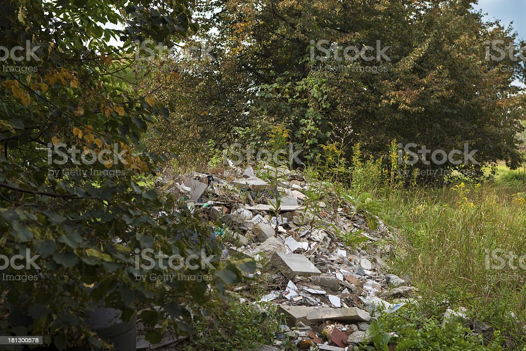 Construction waste thrown away in the woods stock photo