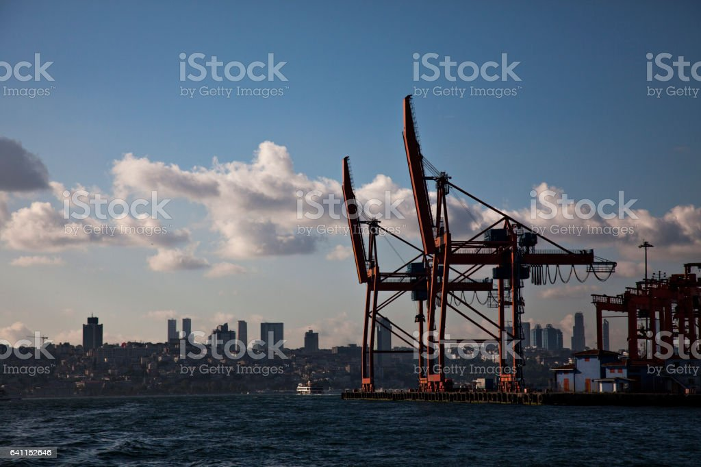 construction with cranes. stock photo