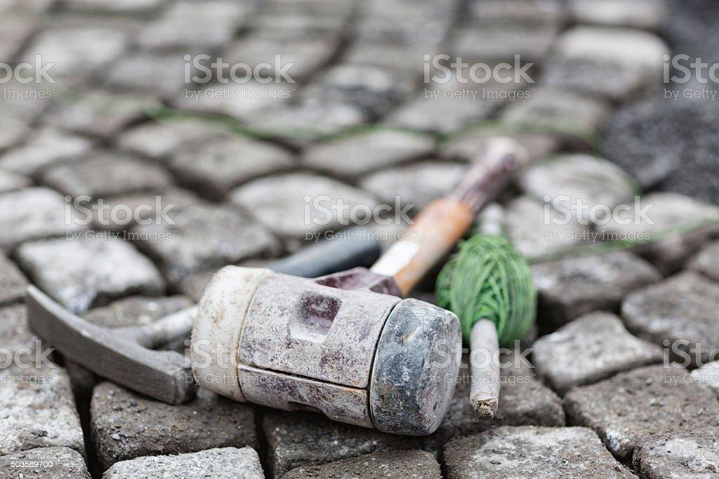 construction with pebble stones stock photo