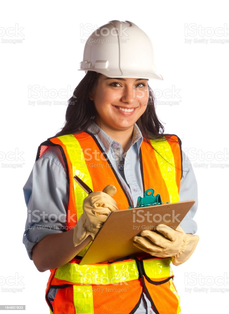 Construction Woman Smiles royalty-free stock photo