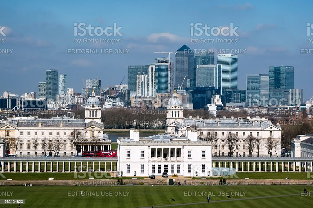 Construction work at Canary Wharf seen from Greenwich stock photo