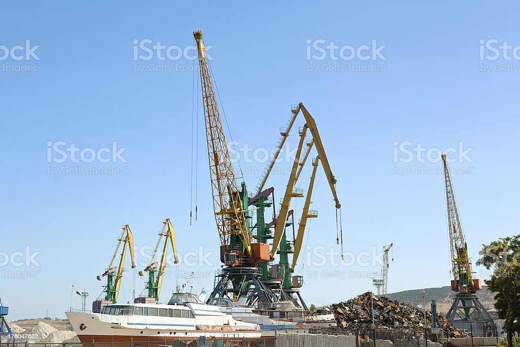 Construction work at the port dock crane royalty-free stock photo