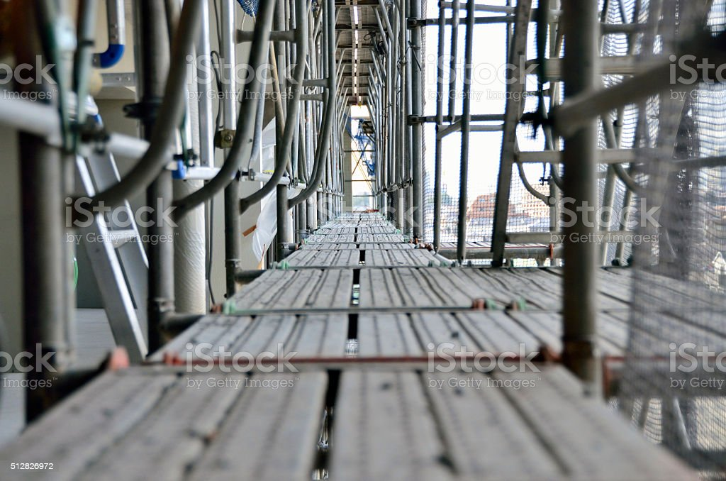 construction work for scaffolding stock photo