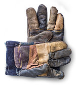 Construction Work Gloves Isolated on White Background.