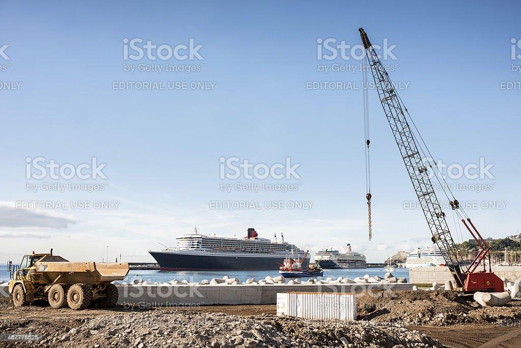 Construction work , harbor, Funchal, Madeira stock photo