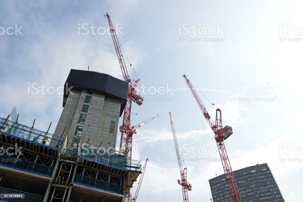Construction work in a sunny day stock photo