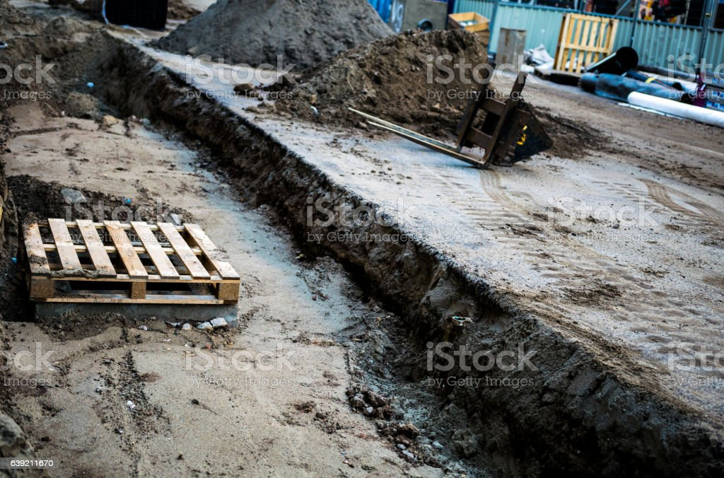 Construction work in Amsterdam stock photo