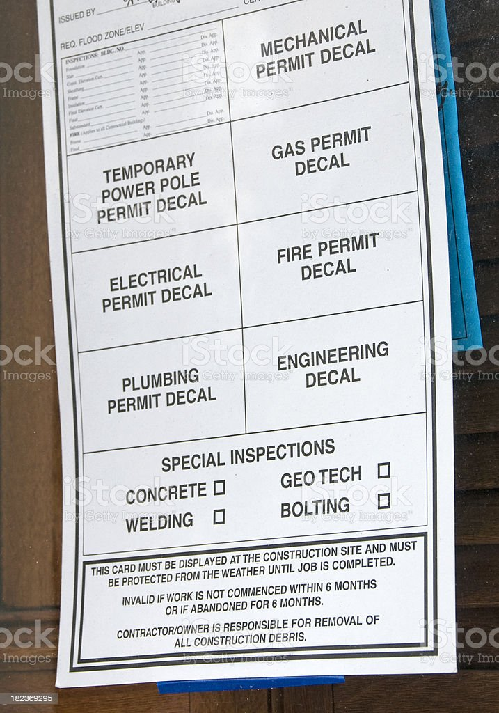 Construction work permit stock photo
