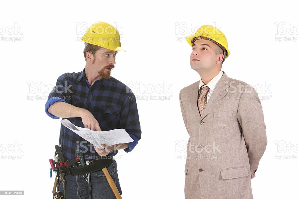 construction worker and architect royalty-free stock photo