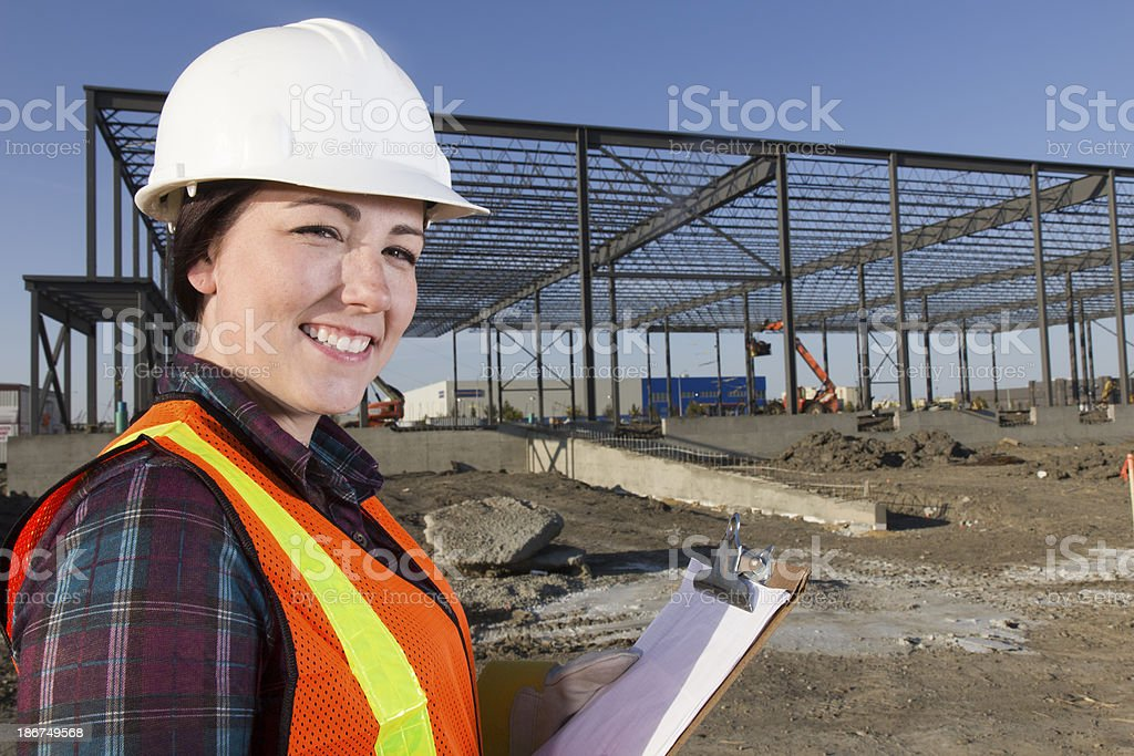 Construction Worker and Clipboard royalty-free stock photo