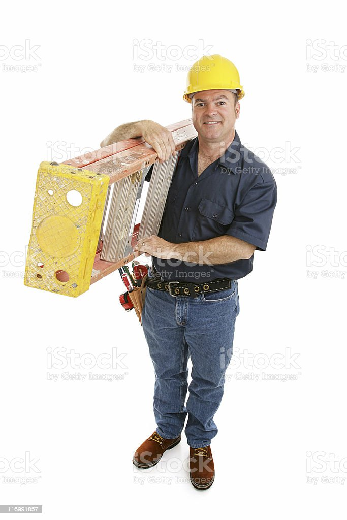 Construction Worker and Ladder royalty-free stock photo