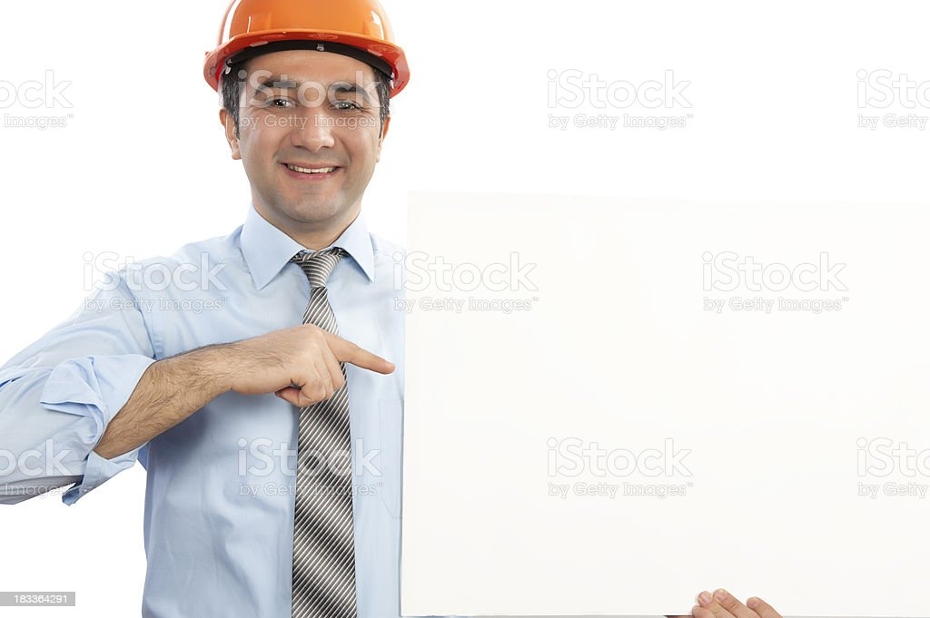 Construction Worker and Placard royalty-free stock photo