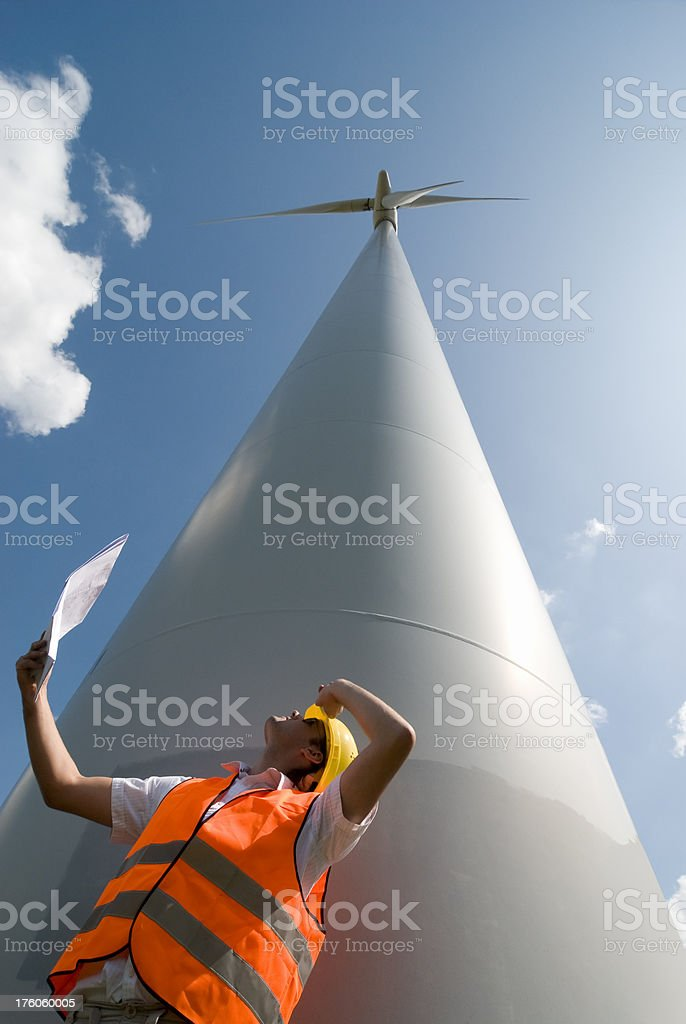 Construction Worker at Windfarm royalty-free stock photo